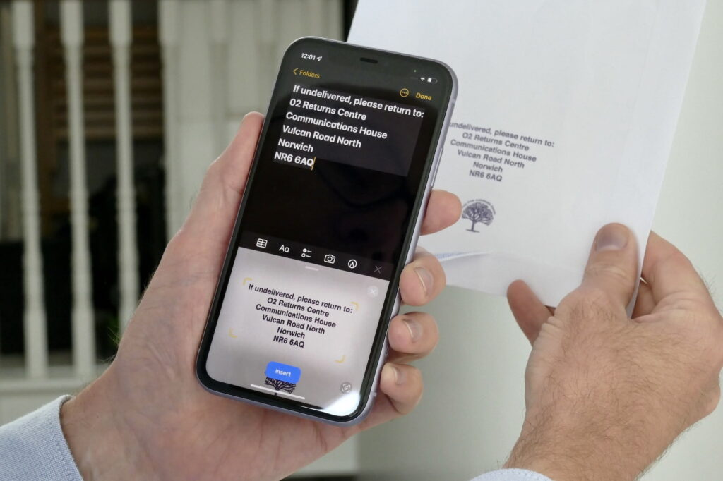iPhone displaying text captured through Live Text feature